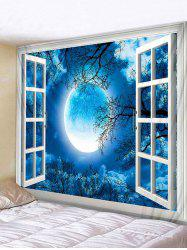 Wall Hanging Art Window Moon Forest Print Tapestry -