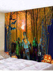 Wall Hanging Art Halloween Forest Zombie Print Tapestry -