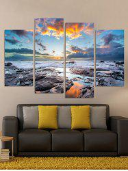 Seaside Stones Print Unframed Split Canvas Paintings -