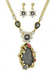 Faux Crystal Teardrop Flower Necklace Set -
