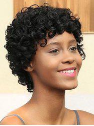 Short Inclined Bang Kinky Curly Synthetic Wig -