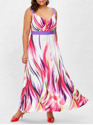 Plus Size Abstract Print Maxi Dress -