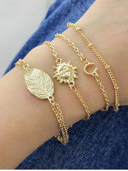 4Pcs Sun Face Chain Bracelet Set -