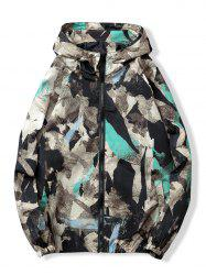 Outdoor Camo Pockets Zip Cuff Elastic Waterproof Jacket -