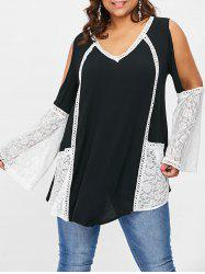 Cut Out Sleeve Plus Size Lace Panel Top -