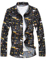 All Over Musical Instruments Print Casual Shirt -