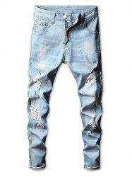 Zipper Fly Side Graphic Taped Ripped Jeans -