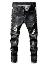 Zip Fly Distressed Letter Print Jeans -