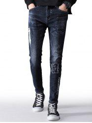 Zip Fly Letter Print Taper Fit Jeans -