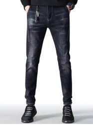 Zip Fly Faded Wash Taper Fit Jeans -