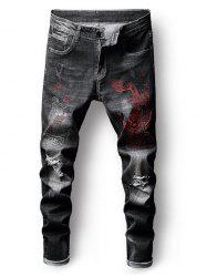 Ripped Embroidery Dragon Faded Wash Jeans -