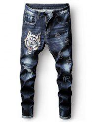 Destroyed Embroidery Tiger Zip Fly Jeans -