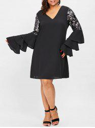 Tiered Flare Sleeve Sequin Embellished Plus Size Shift Dress -