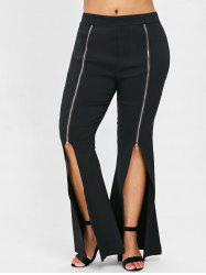Front Zipper Embellished Plus Size Flare Pants -