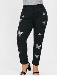 Ripped Plus Size Butterfly Embroidery Jeans -