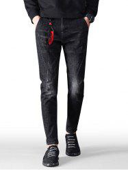 Embroidery Star Zip Fly Jeans -