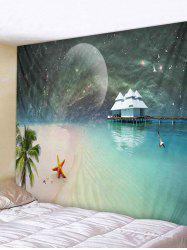 Wall Hanging Art Moon Starry Sky Beach Print Tapestry -
