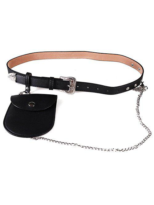 Cheap Elegant Carving Floral Buckle Faux Leather Belt  Bag