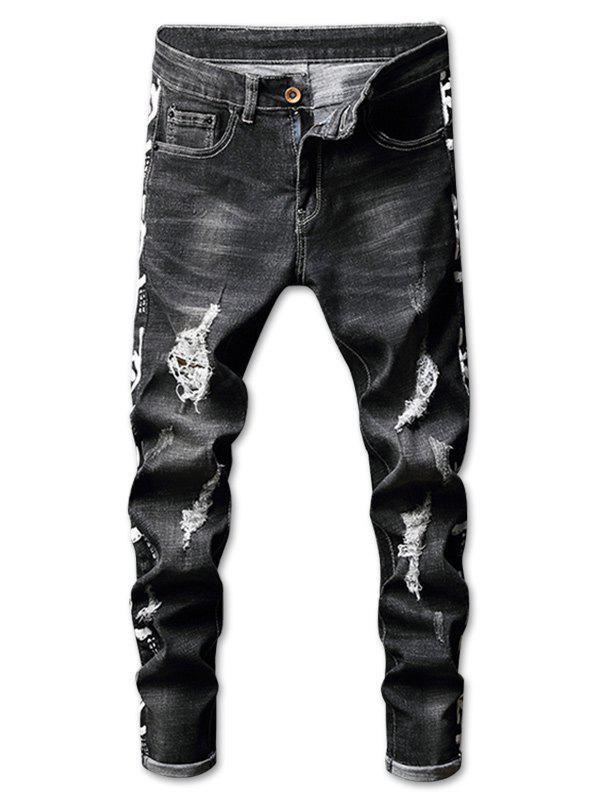 Cheap Zip Fly Distressed Letter Print Jeans