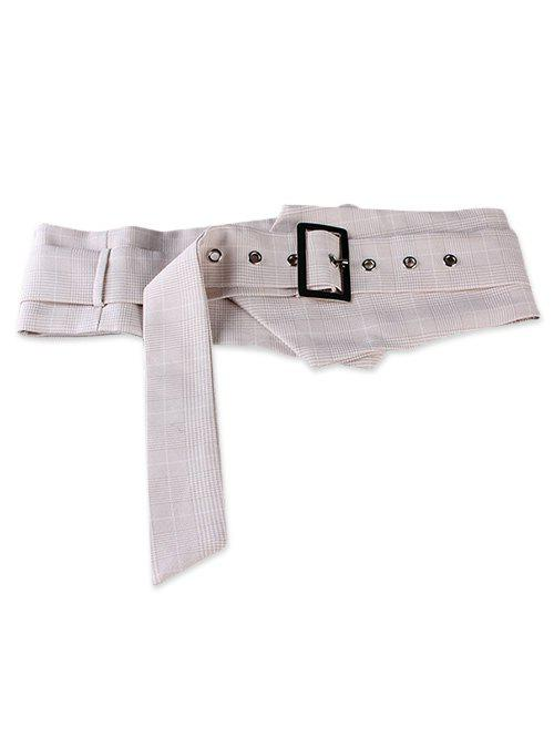 Online Metal Rectangle Buckle Plaid Wide Waist Belt