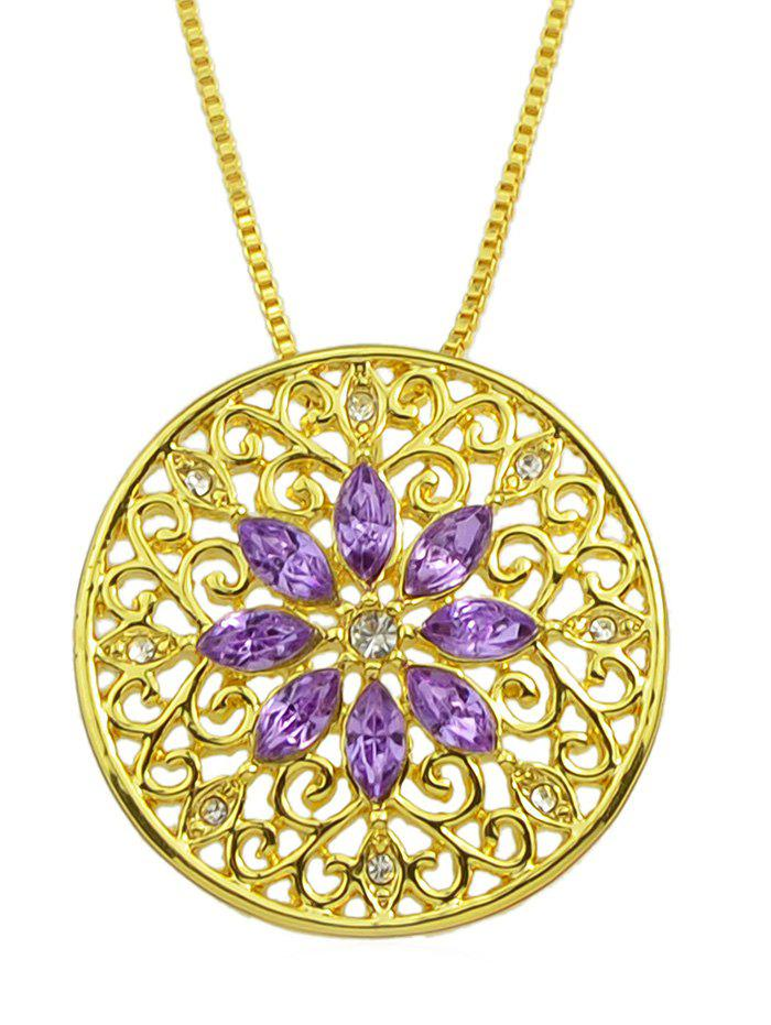 Latest Vintage Hollow Out Rhinestone Floral Necklace