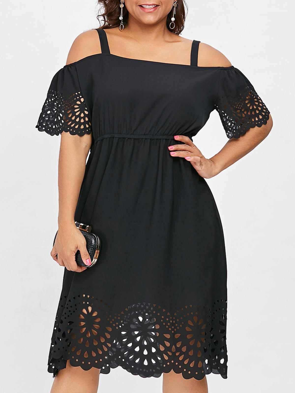 Shops Square Neck Plus Size Cutwork Knee Length Dress