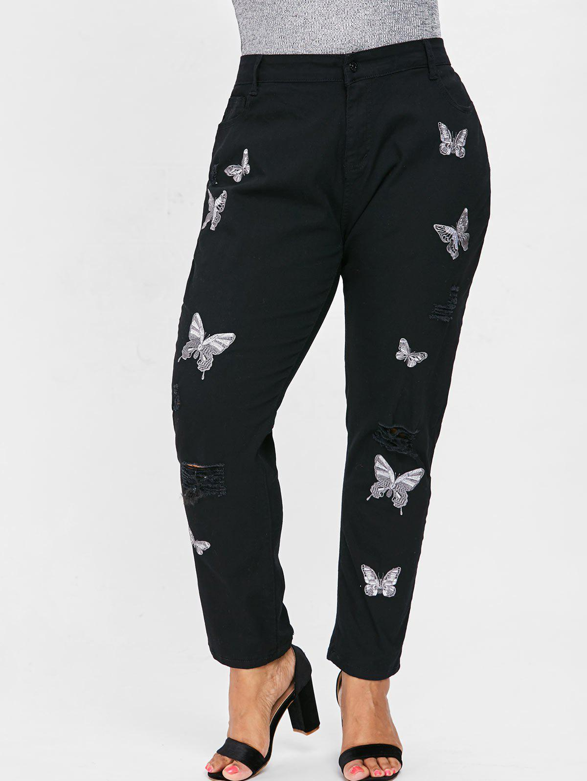 314bead733f8f 68% OFF] Ripped Plus Size Butterfly Embroidery Jeans | Rosegal