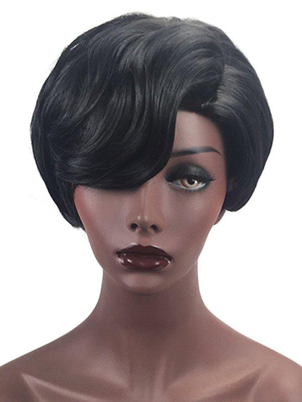 Sale Short Side Parting Layered Natural Straight Synthetic Wig
