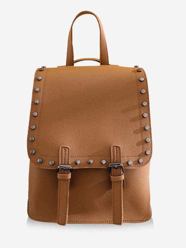 Shops Leisure PU Leather Studs Buckled Backpack