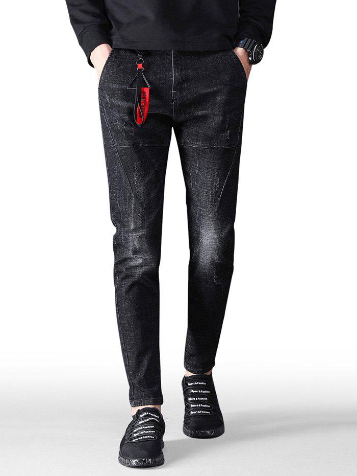 Fashion Embroidery Star Zip Fly Jeans