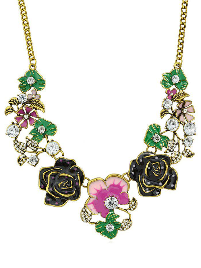 Online Floral Design Rhinestone Chain Necklace