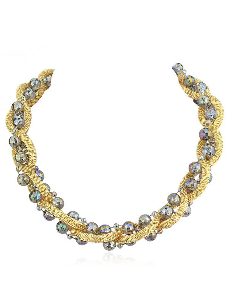 Cheap Artificial Crystal Beads Chain Twist Necklace