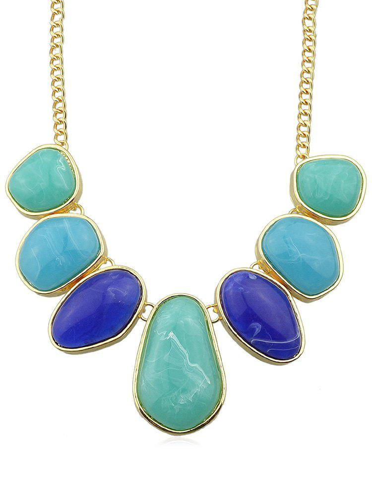 Fancy Irregular Artificial Gem Chain Necklace