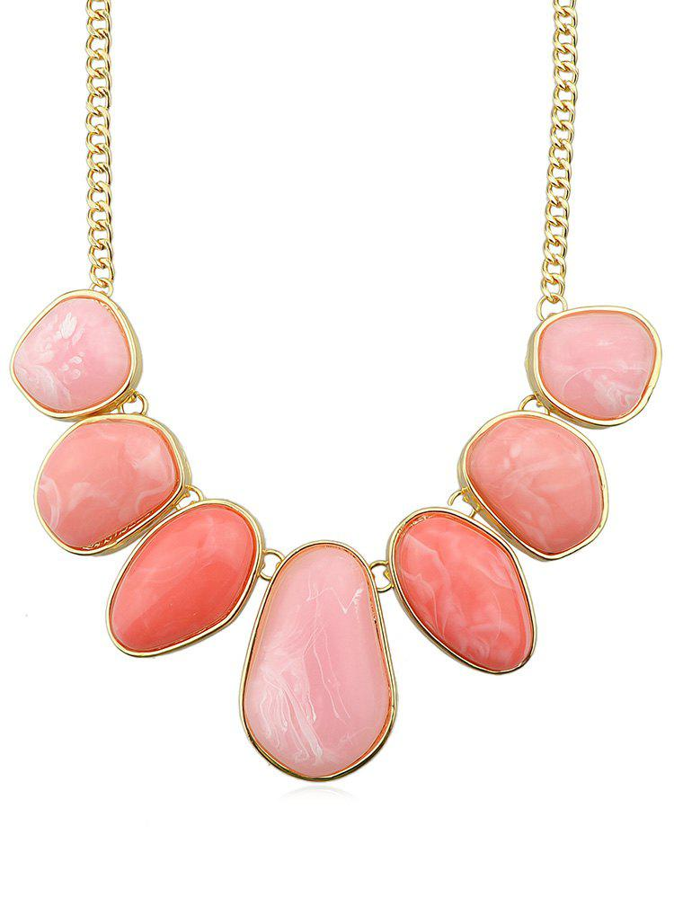 Trendy Irregular Artificial Gem Chain Necklace