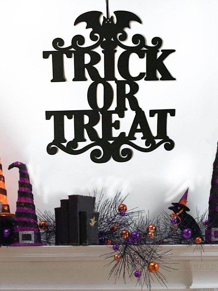 Décor Mural Inscription Trick or Treat et Motif Chauve-Souris d'Halloween