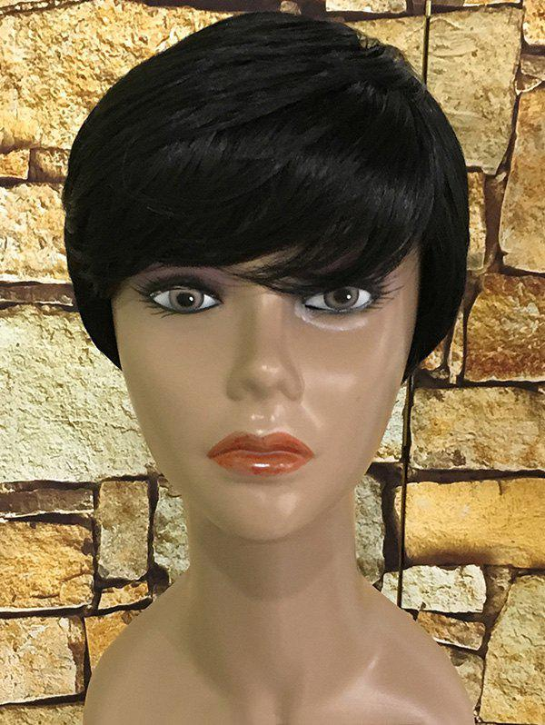 Cheap Short Side Fringe Straight Capless Synthetic Wig
