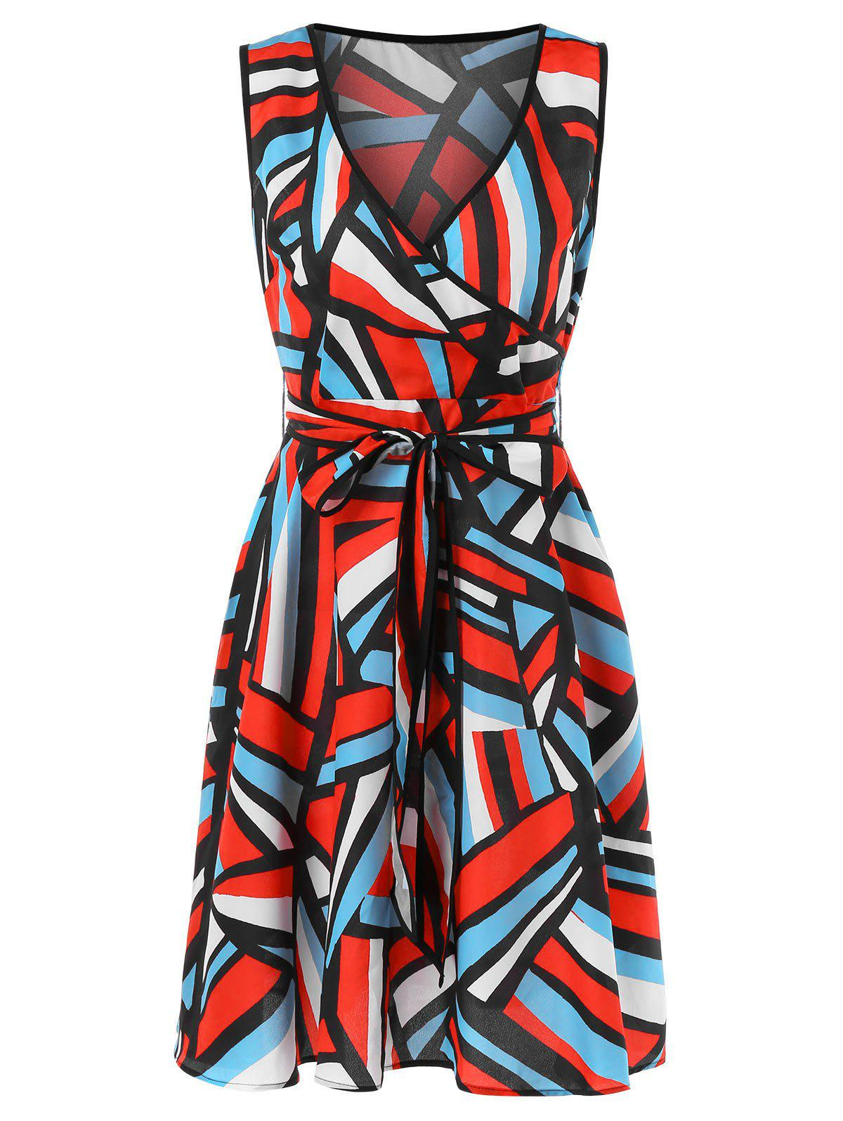 Trendy Abstract Geometry Print Sleeveless Flare Dress