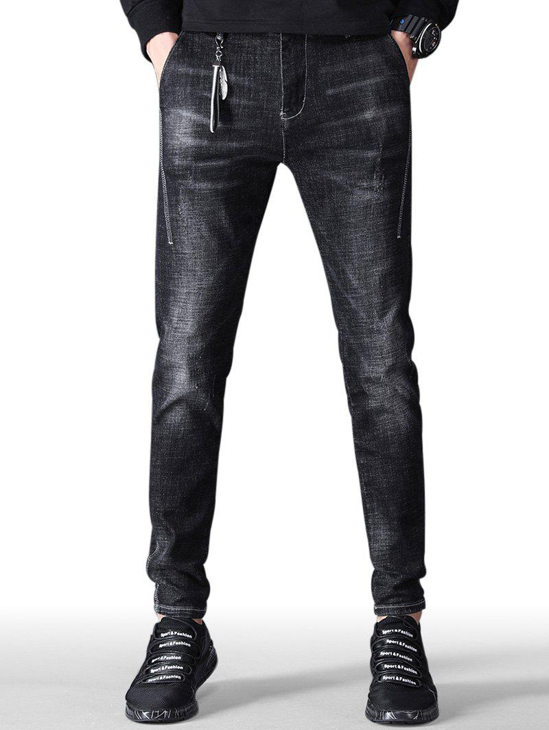 Unique Zip Fly Faded Wash Taper Fit Jeans