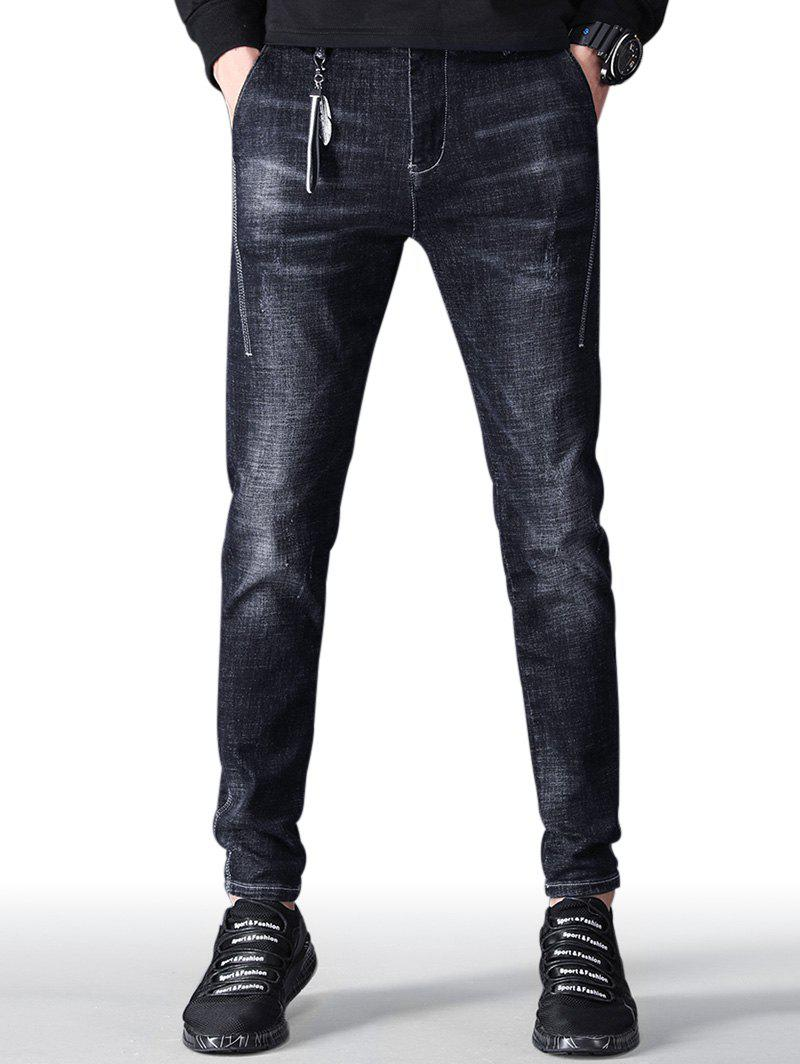 Online Zip Fly Faded Wash Taper Fit Jeans