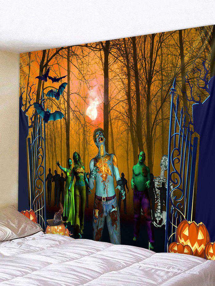 Affordable Wall Hanging Art Halloween Forest Zombie Print Tapestry