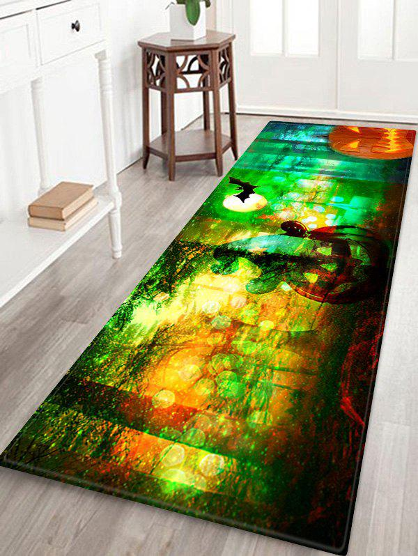 Outfit Halloween Pumpkin Forest Pattern Water Absorption Area Rug