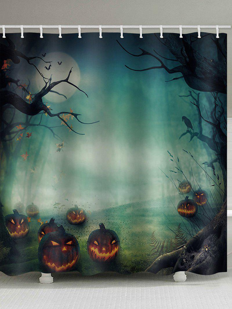 Store Halloween Pumpkin Night Waterproof Bathroom Curtain