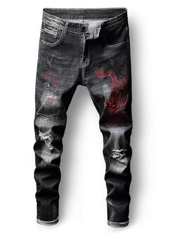 Hot Ripped Embroidery Dragon Faded Wash Jeans