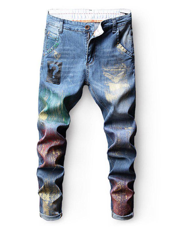 Hot Zip Fly Colorful Paint Nine Minutes of Jeans