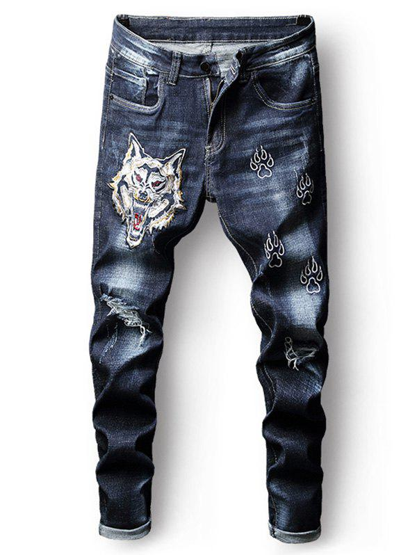 Best Destroyed Embroidery Tiger Zip Fly Jeans