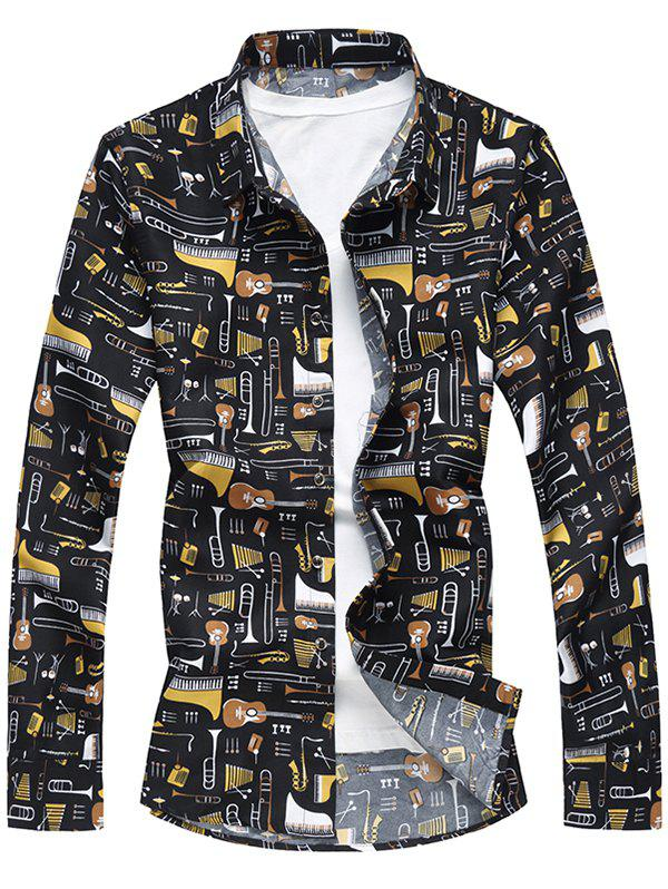 Discount All Over Musical Instruments Print Casual Shirt