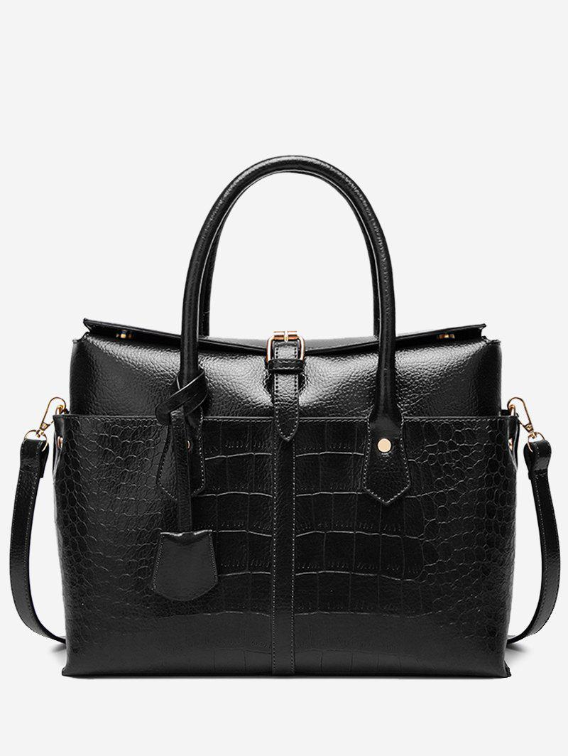 Best Casual Crocodile Pattern Buckled Tote Bag