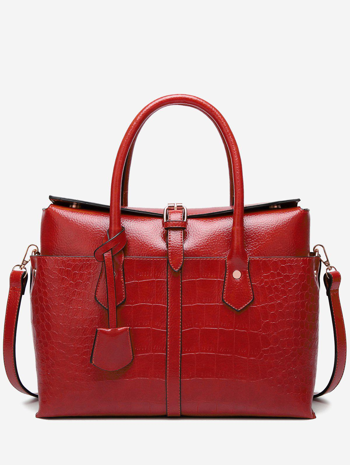 Sale Casual Crocodile Pattern Buckled Tote Bag