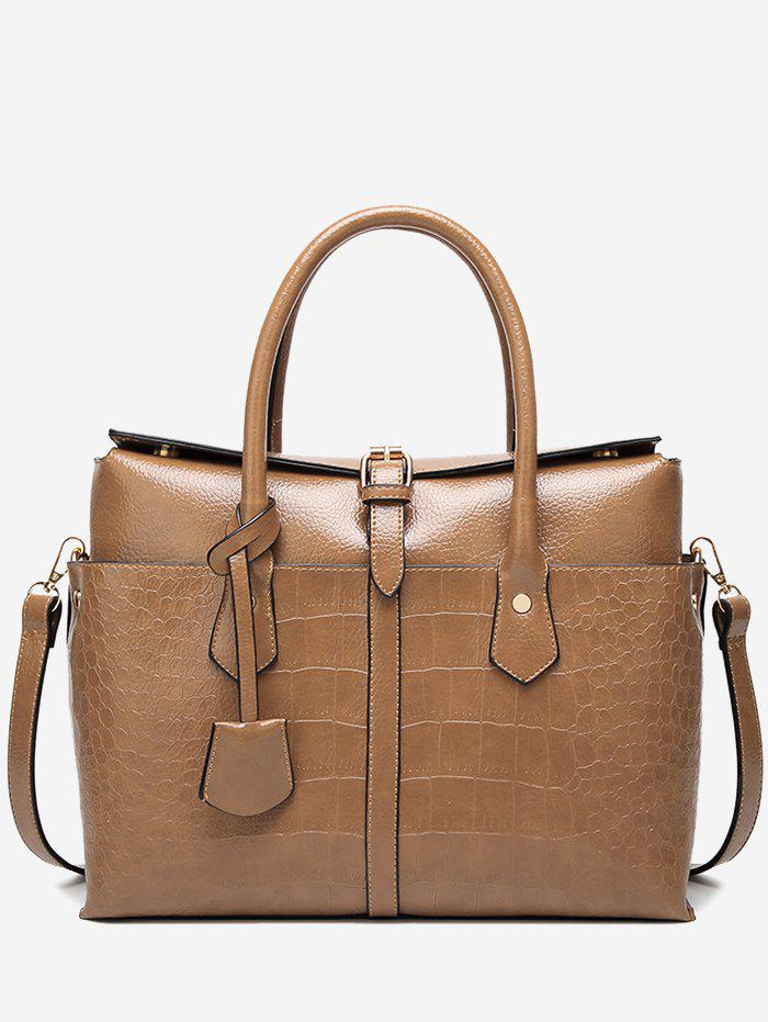 Trendy Casual Crocodile Pattern Buckled Tote Bag