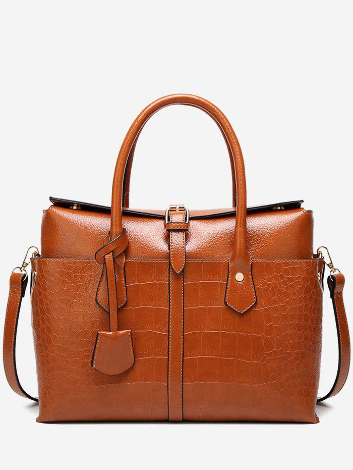 Discount Casual Crocodile Pattern Buckled Tote Bag